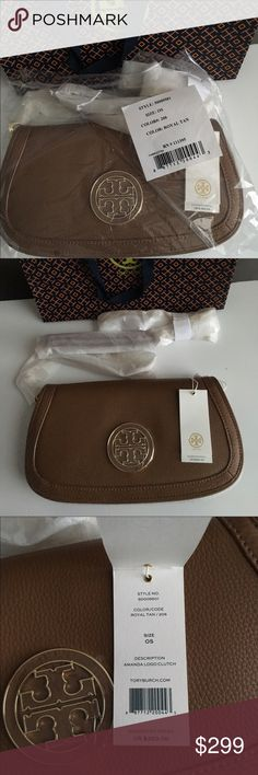 "Tory Burch Amanda Crossbody Clutch The Tory Burch Amanda clutch fits right into the palm of your hand or on your shoulder. You'll love the jewelry-like chain, subtle texture, and oversize medallion. Pebbled leather; golden hardware. Removable chain and leather shoulder strap; 23"" drop. Front flap with hidden magnetic closures. Flap features leather and metal double-T logo. Zip pocket under flap; zip pocket inside. Slim, rounded shape. 7""H x 11 1/2""W x 1""D. Tory Burch Bags Crossbody Bags"