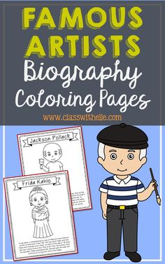 Bundle of 14 Famous Artists Biography Coloring Pages with Informational Text. - Bundle of 14 Famous Artists Biography Coloring Pages with Informational Text. History Interactive Notebook, Interactive Notebooks, Art Handouts, Kindergarten Art Projects, Homeschool Kindergarten, Georgia Okeefe, Art Worksheets, Artist Biography, Thinking Day