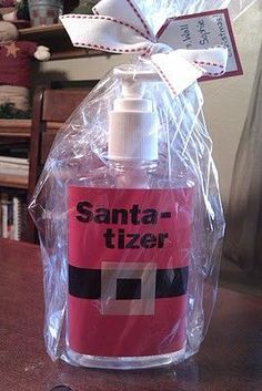 I LOVE this!! You can NEVER have too much sanitizer. Germs, germs, germs be gone!   http://giftmatters.com/24-cute-homemade-christmas-gifts/