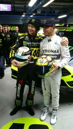 Valentino Rossi, MotoGP and L. Hamilton, Both are World Champions. Motogp Valentino Rossi, Valentino Rossi 46, Vr46, F1 Drivers, Photo Search, Lewis Hamilton, Formula One, First World, Race Cars