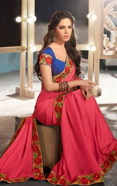 Awesome Pale Red Color Wedding Saree