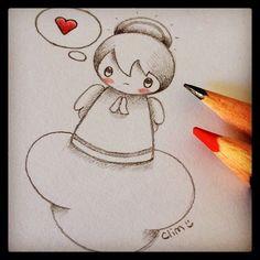 Love angel, sketch by clim. http://bulles-de-clim.blogspot.com