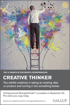 You exhibit creativity in taking an existing idea or product and turning it into something better. Discover your entrepreneurial talents at Gallup Strengths Center. www.gallupstrengthscenter.com
