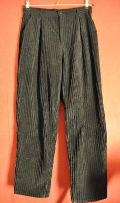 3ed5d9654927 vintage 80s Pants Corduroy Black Highwaist Womens pants Size 40 M-L RARE