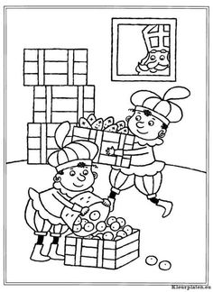 Kleurplaat Zwarte Pieten Spelen Met Een Poppenhuis