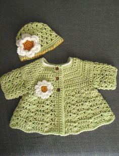 Ravelry: Project Gallery for Aunt Jen's Sweater pattern by Sandi's Angels Crochet Baby Sweaters, Crochet Baby Clothes, Crochet Cardigan, Baby Knitting, Newborn Crochet Patterns, Baby Sweater Patterns, Baby Patterns, Crochet Bebe, Crochet Girls