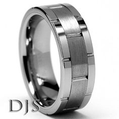 Friends of Irony Black Tungsten Carbide Wrench Ring 8mm Wedding Band Anniversary Ring for Men and Women Size 14.5