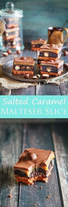 Authentic Salted Caramel No Bake Malteser Slice