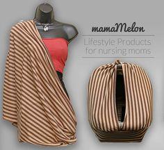 Nursing Cover Scarf  light brown/ dark brown by MamaMelonCA