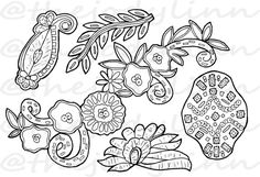 Museum Drawer: Appliques 2. Instant Download Digital Stamp Bundle. Line Art Illustration for Cards and Crafts Free Coloring Pages, Digital Stamps, Craft Items, Vintage Accessories, Line Art, Appliques, Drawer, Handmade Items, Illustration Art