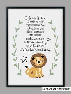 Originaldruck - DU BIST EINZIGARTIG, Löwe Kunstdruck, Geschenk - ein Designerstück von Smart-Art-Kunstdrucke bei DaWanda