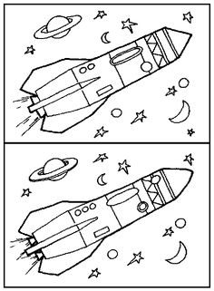 zoek de verschillen Space Projects, Space Crafts, Space Activities, Preschool Activities, Space Coloring Pages, Hidden Pictures, Space Theme, Worksheets For Kids, Science For Kids
