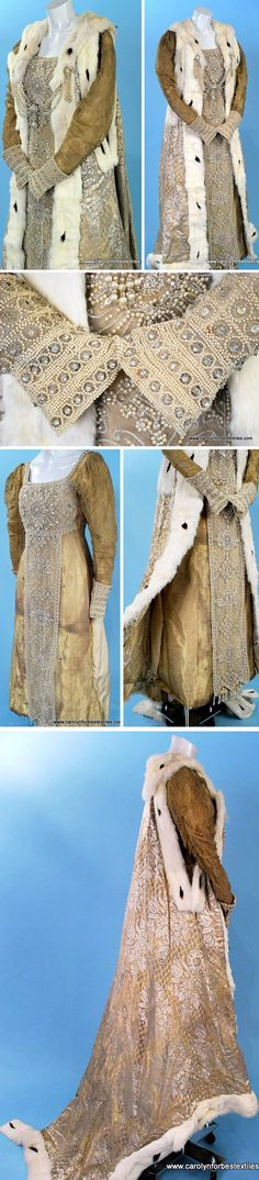 Court presentation gown & robe, Drécol, ca. late 19th or early 20th century. Dress: gold lamé over cream silk faille. Gold lace sleeves over lamé with lined & stayed bodice with dense front panel of pearls & paste jewels. Robe is figured gold lamé & silk with swag of faux pearl- and glass-cased diamanté as front closure. Trimmed in ermine, sleeveless with full train, unlined. Carolyn Forbes Textiles/ebay