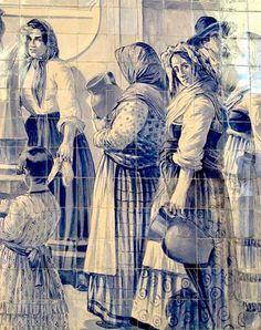 Azulejos do Século XIX (Portuguese tiles, nineteenth century) - Portugal Tile Murals, Tile Art, Mosaic Tiles, Portuguese Culture, Portuguese Tiles, Portugal Travel, Porto Portugal, Delft, Art Drawings