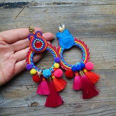 Beaded Tassel Necklace, Soutache Earrings, Feather Necklaces, Tassel Jewelry, Big Earrings, Hippie Jewelry, Fabric Jewelry, Diy Necklace, Beaded Jewelry