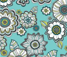 Love the colors  Painted_Petals fabric by andiehanna on Spoonflower for Fabric8- custom fabric.