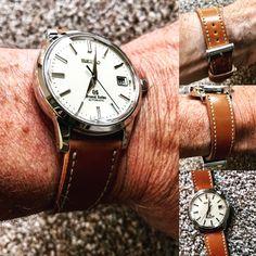 Grand Seiko Sbgr061 on tan shell Cordovan  #watchuseek #watchoftheday #strapmakers #watchesofinstagram #horology #luxury  #dailywatch #wristshot #instawatch #timepiece #womw #watchaddict #watchnerd  #watchgeek #womw #watchcollector    #watchmania   #techsew #horween #customwatchstrap #customleatherwatchstrap  #rolex #patek #IWC #audemarspiguet #omega #seiko #grandseiko #grandseikosbgr061