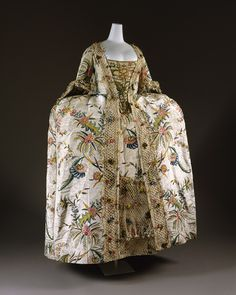 Robe à la française, 1740s, English. From the Metropolitan Museum of Art.