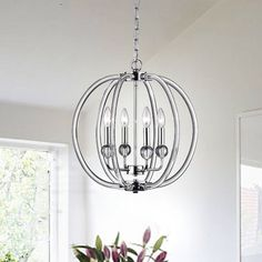 Rosdorf Park Cardenas 4 - Light Unique / Statement Empire Chandelier with Crystal Accents Globe Chandelier, Crystal Chandelier, Lamp Decor, Light, Lantern Pendant, Chandelier, Lantern Lights, Globe Lights, Chandelier Shades