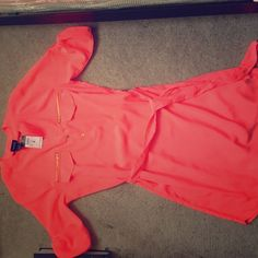 PINK KNEE LENGTH DRESS WITH BELT! This dress is bright pink, perfect for the summer time. It is a light fabric. Comes with belt to tie around waist. Rue 21 Dresses Midi