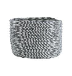 Gray & Natural Cablelock Wool Basket - Medium | Rejuvenation