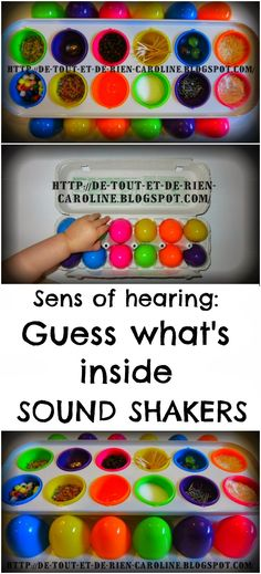 Arrange by ascending/descending tone. Distribute and find the person w/matching sound. Guess what's inside: Sound shakers with plastic eggs to explore the sens of hearing. 5 Senses Activities, Senses Preschool, Preschool Music, Music Activities, Preschool Science, Sensory Activities, Preschool Activities, Science Area, Science Inquiry
