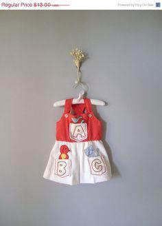 Vintage Toddler Alphabet Polka Dot Dress // 12-18 months.