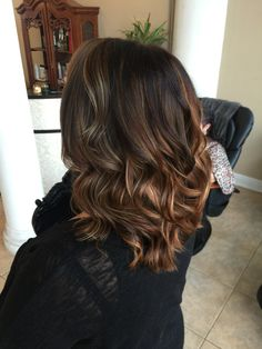 Blonde and red highlights and lowlights Balayage short style long layers