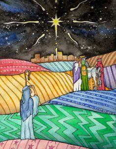 Christmas, Star over Bethlehem, Three Kings and Shepherd, 8x10 Watercolor on Paper, Original Heather Torres Art $65.00