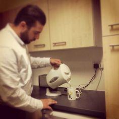 No Lackeys at TCC! Boss making his own tea