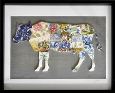 Recycled China Cow Butcher Chart