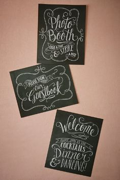 bd2d76217 Blackboard Wedding Sign Set from  BHLDN Blackboard Wedding
