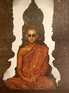 """Bappajja"" ศิลปิน ไกรศักดิ์ จีรชัยสกุล เมซโซทินท์ ๑o๗ x ๘๒ ซม. King Of Kings, My King, Thai Monk, Bhumibol Adulyadej, Buddha, Thailand, Memories, Statue, Fresh"