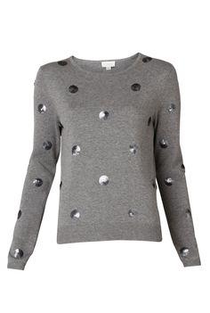 Sequin Polka Dot Knit - Knitwear - Her - Witchery Black Sequin Top, Black Sequins, Black Knit, Safari Shirt, Polka Dot Sweater, Silky Dress, Winter Wardrobe, Clothing Items, Fashion Forward