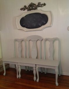 So French....by Jeanne... The 3 chair bench is painted Soft Paris grey and stamped in Annie Sloan old white chalk paint and measures:
