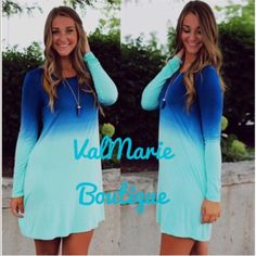 """Blue Gradient Long Sleeve Mini Tunic Dress ❗️2 Large Left❗️I am in LOVE w/ this tunic dress! Perfect for any time of year because u can wear w/ leggings & boots or wear in the summer w/ your favorite sandal. material is lightweight & soft. Measures approx. 31.5"""" from top to bottom. M (6-8) L (10-12) Price is firm unless bundled. Consider a size up if u want a relaxed fit like first image. Runs slightly small. Cold water wash, lay flat to dry or tumble dry low. You may purchase this listing…"""