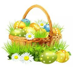 Easter Basket With Eggsand Daisies PNG Clipart Picture