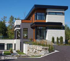Maison avec look contemporain de brique et pierre