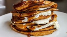 Fluffy, decadent and DIVINE! These sweet potato pancakes, stuffed with ricotta cheese and dripping with maple syrup, are just too good to be true. Seriously, they might be illegal. Dont nark on me!