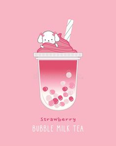 Illustration about Strawberry Bubble Milk Tea. Illustration of cocktail, pearl, cafe - 157343542 Cute Food Wallpaper, Tea Wallpaper, Flower Phone Wallpaper, Cute Patterns Wallpaper, Wallpaper Iphone Cute, Cute Kawaii Animals, Cute Animal Drawings Kawaii, Cute Drawings, Japon Illustration