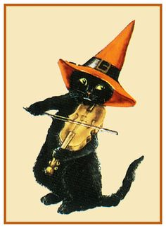 Halloween Fiddling Black Cat Counted Cross Stitch or Counted Needlepoint Pattern