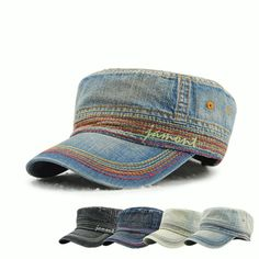 Men Women Vintage Cadet Solid Cotton Embroidery Plain Flat Peaked Caps Hats 153b26e84b44
