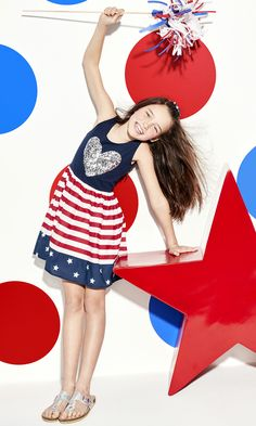 Girls' fashion | Kids' clothes | Memorial Day Weekend | Stars and stripes sequin dress | Patriotic outfit | The Children's Place