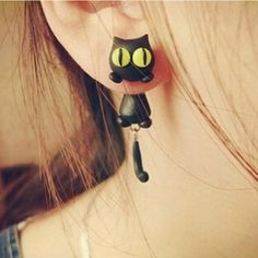 1-Pair-Fashion-Jewelry-Womens-3D-Animal-Cat-Polymer-Clay-Ear-Stud-Earring