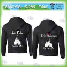 mickey minnie mouse disney matching couple shirts, princess and prince, disney castle with your wedding date, minnie bow, 223 on Etsy, $51.35