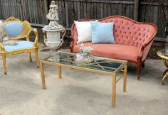 Rent My Dust Vintage Lounge Area's for Your Wedding! - Blog - RENT MY DUST Vintage Rentals. This is for the pink bride or Shabby Chic Bride featuring our pink Marie Antoinette Chair, Pink Dorothy Settee & Rosy Couch. #vintagerentals #weddinglounges