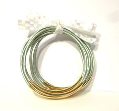 Beaded Leather Bangle Bracelets Mint Green and by NOLAbead on Etsy, $30.00