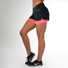 The Gymshark Nova Running Shorts are dual-layer exercise shorts combining the second-skin fit of cycling shorts with lightweight running shorts. Sport Shorts, Running Shorts, Workout Shorts, Workout Gear, Gym Shorts Womens, Running Gear, Compression Shorts, Intense Workout, Fit Women