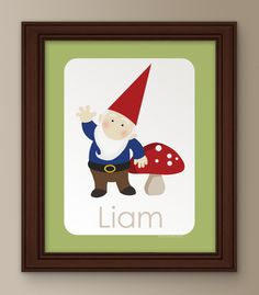 Gnome Name - Boy  Personalized Woodland Gnome Name Print, kids nursery  by Ink Tree Press