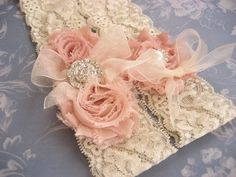 Vintage Bridal Garter Wedding Garter Set Toss Garter included Dusty Rose Ivory with Rhinestones and Pearls Custom Wedding colors $27.00